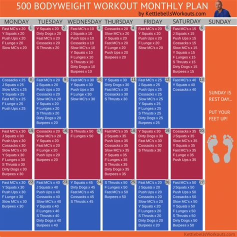 workout bodyweight plan monthly challenge exercises week weight body kettlebell month training workouts beginners fitness kettlebellsworkouts weekly routines plans loss