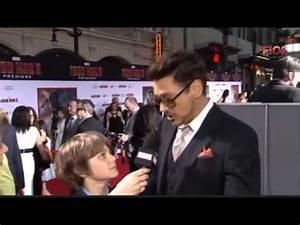 Ty Simpkins and Robert Downey Jr Iron Man 3 Premiere ...