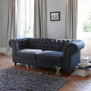 Canapé Chesterfield Gris : canape chesterfield lin maison design ~ Teatrodelosmanantiales.com Idées de Décoration