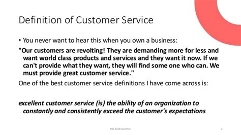 Definition Of Customer Service Exle by Customer Satisfaction And Service Quality