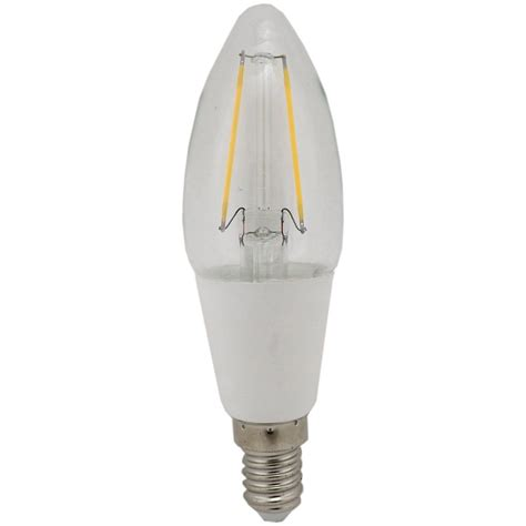 inlight filament style led candle bulb 2w ses e14 clear