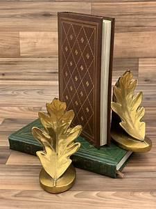 Vintage, Oak, Leaf, Bookends, Pm, Craftsman, Bronze, Bookends, Library, Decor, Gift, For, Him