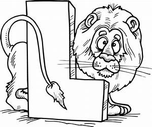 alphabet coloring pages - colouring page of letter l with a lion coloring point