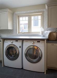 mosaic bubble tile transitional laundry room With best brand of paint for kitchen cabinets with laundry room wall art ideas