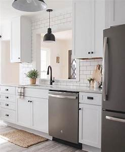 White cabinets with slate appliances goedeker39s home life for Kitchen colors with white cabinets with kids love stickers com