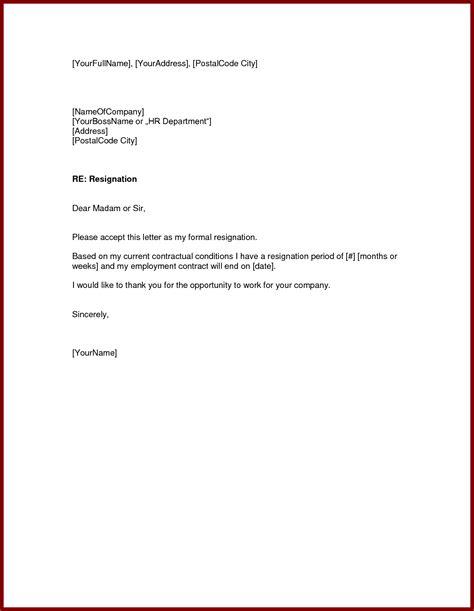 basic resignation letter template word standard