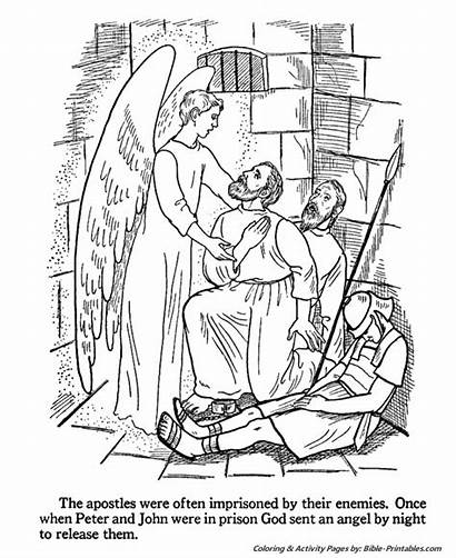 Coloring Peter Bible Pages Prison John Jail