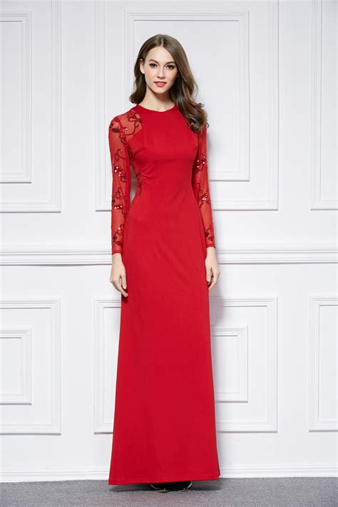 Red Floor Length Long Sleeve Evening Dress Prom Gown - TheCelebrityDresses
