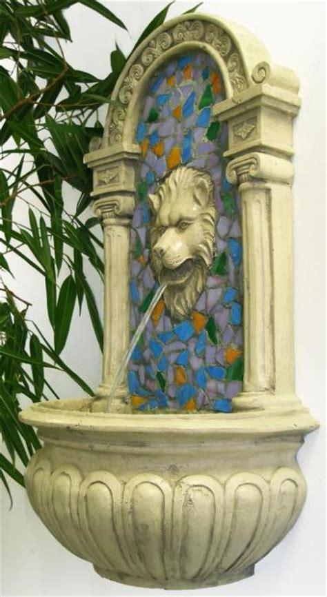 lion head mosaic resin wall fountain