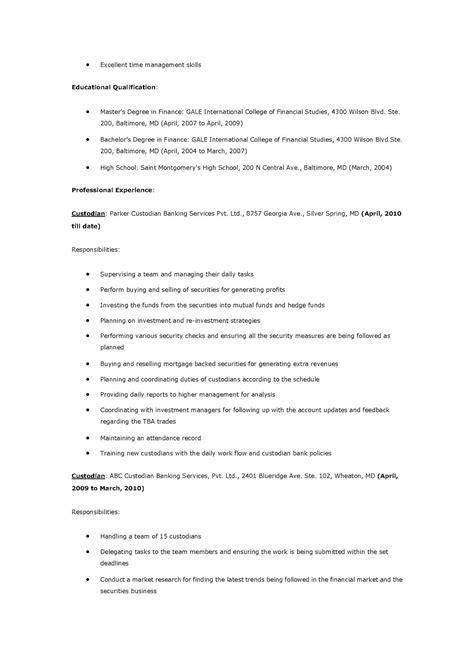 Custodian Resume by Resume Sles Custodian Resume
