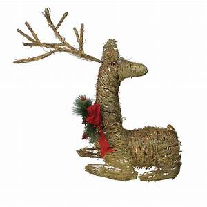 Northlight, 30, In, Christmas, Outdoor, Rattan, Lighted, Reindeer, Decoration, With, Red, Bow, And, Pine