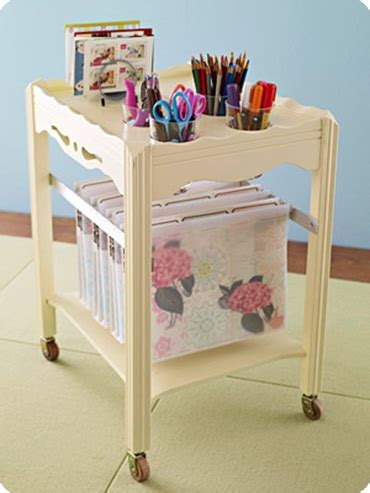 rolling craft table with storage creative craft supply storage everythingetsy com