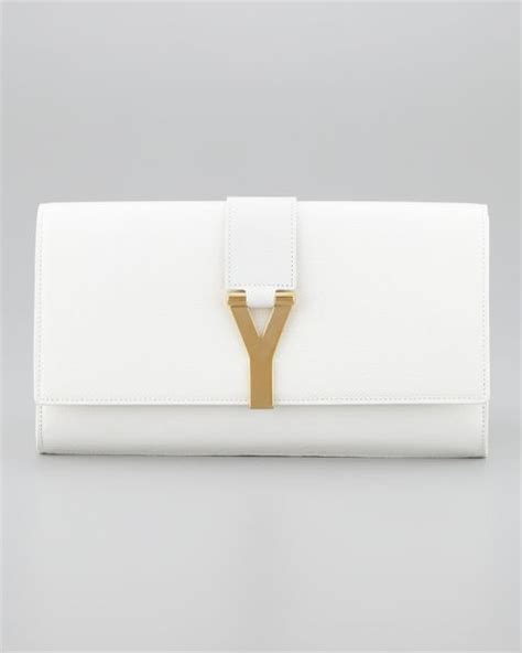 saint laurent cabas chyc clutch bag  white  white lyst