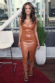 Rocsi Diaz in Leather Dress