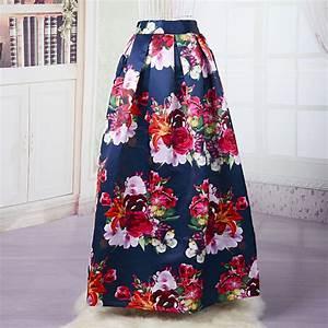 Aliexpress.com  Buy Women Floral Maxi Skirt Beautiful Long Skirt Satin Print Skirt High Waist ...