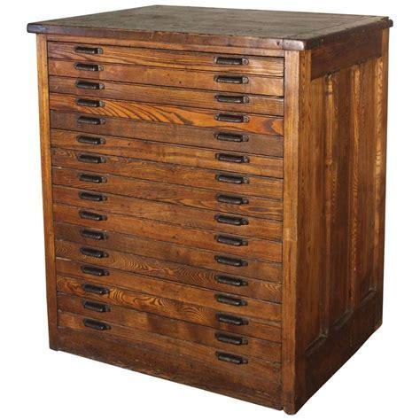 Vintage Industrial Hamilton Wood Flat File Multi Drawer