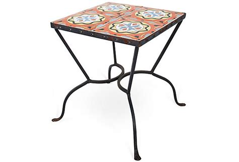 square tile top side table