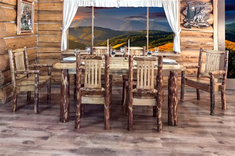 glacier country  post log dining table  montana woodworks