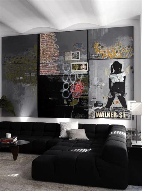 cool bachelor pad living room  wall art design