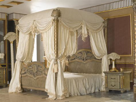 king size bed canopy drape transition style classic bed room design