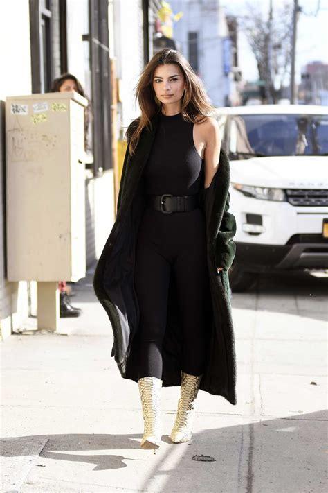 Emily Ratajkowski looks stylish in a black jumpsuit during ...