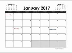 2017 Excel Calendar Template Download FREE Printable