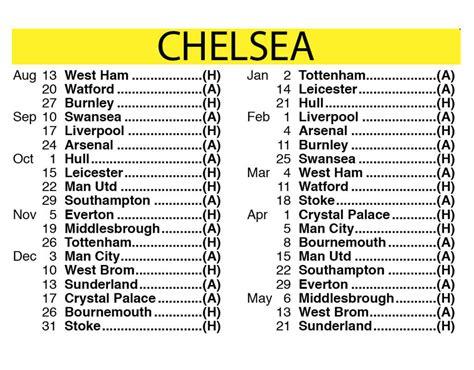 Chelsea Epl Fixture