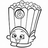 Coloring Shopkins Popcorn Box Corn Poppy Pages sketch template