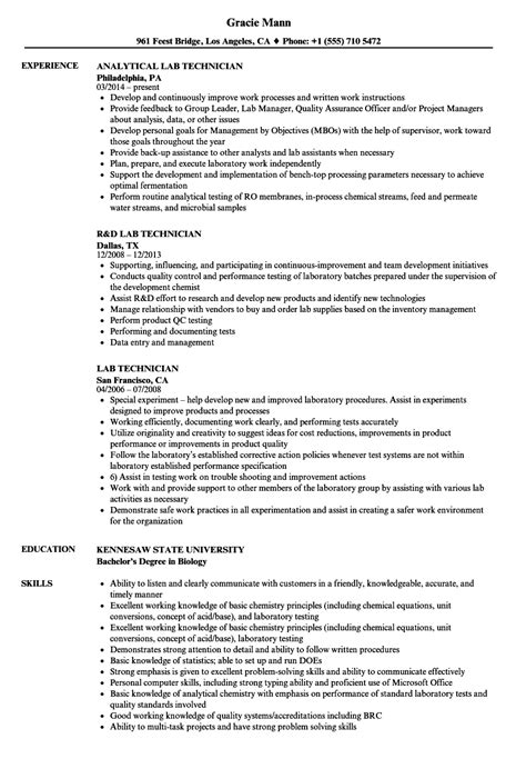 Cath Lab Tech Resume by Lab Technician Resume Sles Velvet