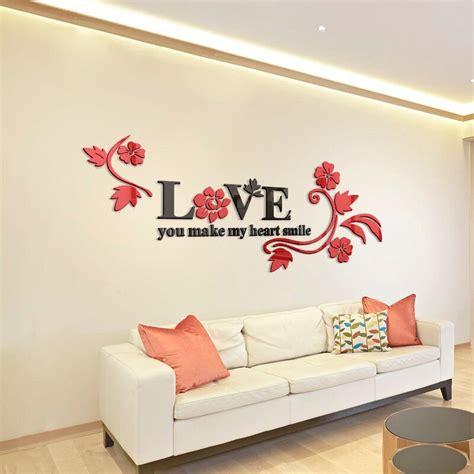 love acrylic mirror decorative stickers  bedroom