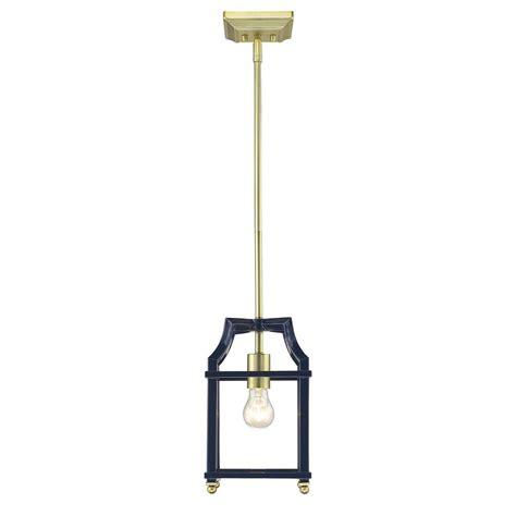 golden lighting leighton 1 light satin brass and navy blue pendant light 8401 m1l sb nvy the