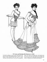 Coloring Victorian Edwardian Corset Fashions Corsets Late Historical Hoop Skirts Era Petticoat Rustling Epoque Adult Books Costume Belle sketch template