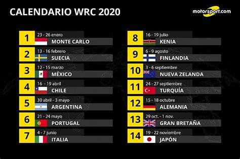 calendario wrc mexico chile argentina