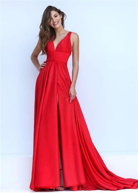 crimson bridesmaid dresses satin v neck tie back sleeveless empire prom dress of