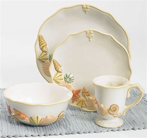 beach dinnerware sets themed dish florida dinner shores sandy marketplace pc coastal seashell seaside plates inspired tableware tropical sand plate