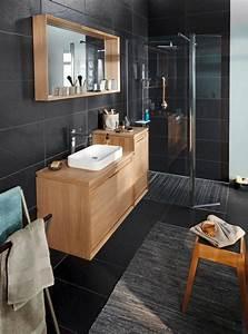 idee decoration salle de bain vous aimez le cote naturel With salle de bain galet et bois