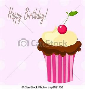 Vector Clipart of Birthday cupcake with cherry. Vector ...