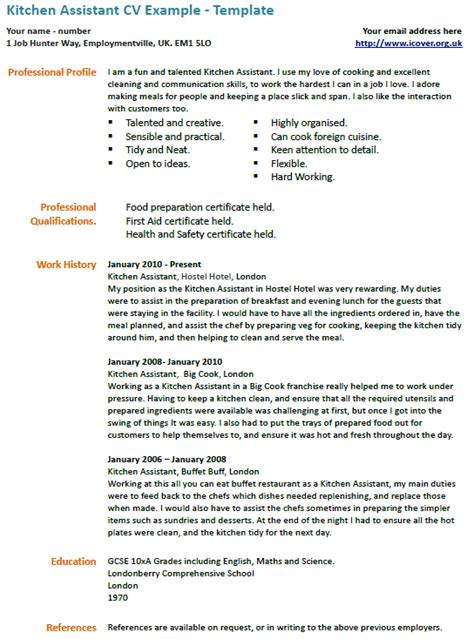 kitchen assistant cv  icoverorguk