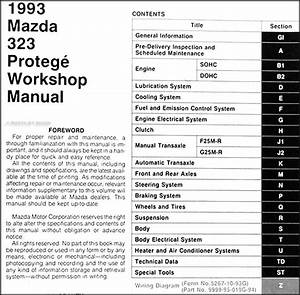 Service Manual  1993 Mazda 323 Fuse Box Manual
