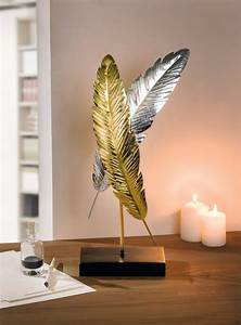 Deko Gold Silber : feder deko objekt glanzfedern gold silber metall sockel 222661 ebay wohnaccessoires ~ Sanjose-hotels-ca.com Haus und Dekorationen