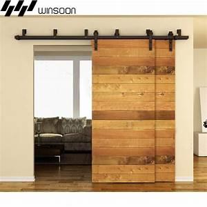 winsoon 5 16ft bypass sliding barn door hardware double With 5 ft barn door hardware kit