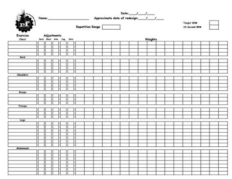 image result for planet fitness workout sheet pdf pf