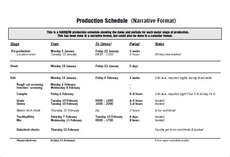 production scheduling templates   excel