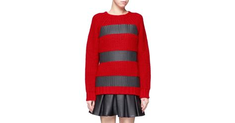 Msgm Tape Stripe Chunky Knit Sweater In Red
