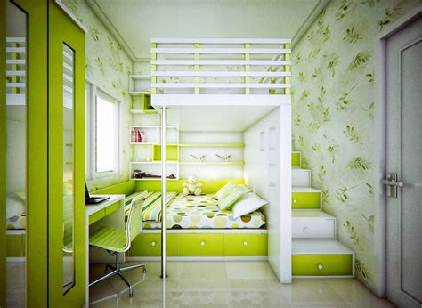 catchy kids bedroom  lime green color ideas interior