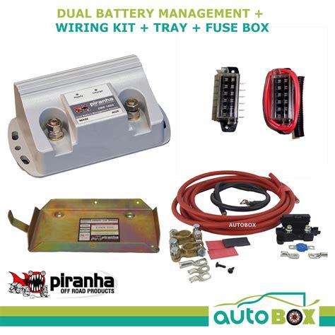 piranha dual battery tray 140a kit toyota prado 1kd ftv