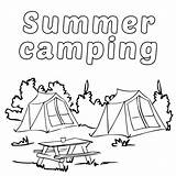Camping Coloring Summer Pages Printable Camp Tent Poster Getcoloringpages sketch template