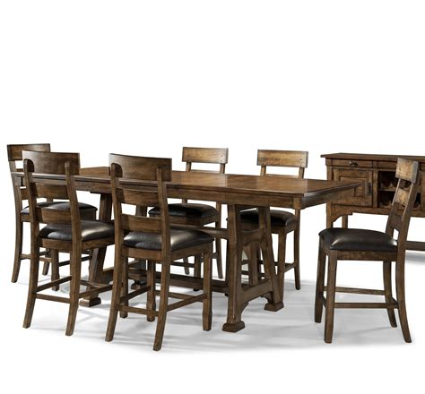 7 piece pub table set transitional 7 piece pub table and plank stool set by
