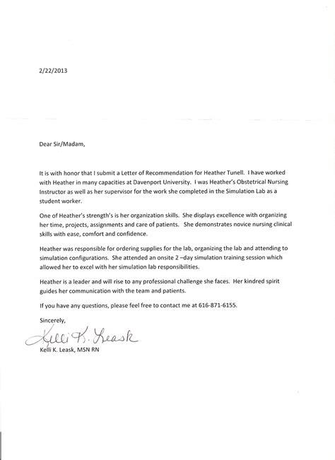 letter of recommendation for nursing school nursing recommendation letter new calendar template site