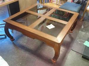 Square wood and glass coffee table ladysmith cowichan for Wood coffee table with glass insert
